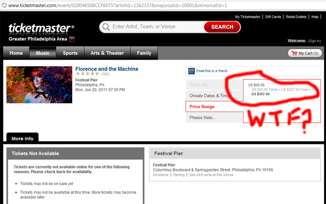 Ticketmaster Charges $327.50 In Fees For One Florence And The Machine Ticket?