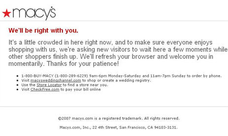 "Macy's Website Asks You To ""Wait Here A Few Moments While Other Shoppers Finish Up"""