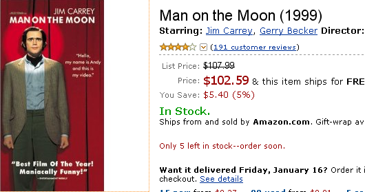 "Amazon sells ""Man on the Moon"" VHS for $100+"
