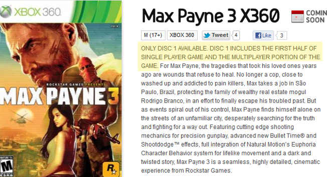 We Hope Redbox Customers Only Like Playing The First Half Of Max Payne 3