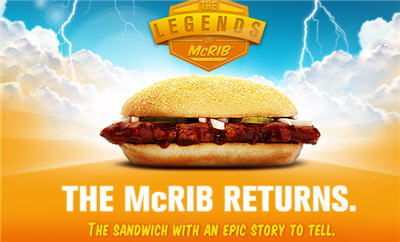 "The McRib Is Back, Along With ""Legendary"" Contest"