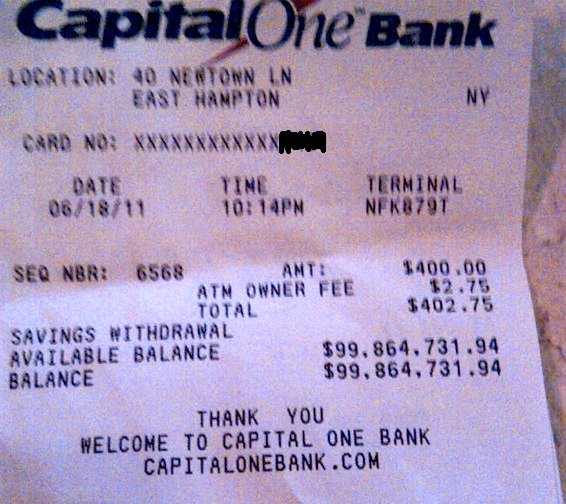Whose $100 Million ATM Receipt Is This? – Consumerist