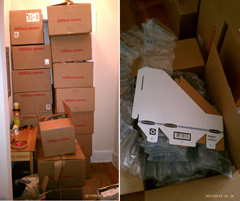 Office Depot Packs 18 Flat Cardboard Objects In 18 Separate Boxes