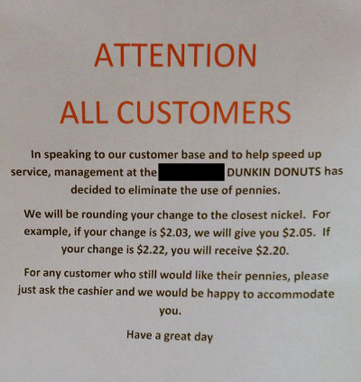 Rogue, Penny-Abolishing Dunkin' Donuts Is No Longer Rogue Or Penny-Abolishing
