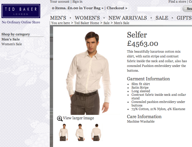 "Splurge Of The Day: $7,500 Shirt On ""Sale"" At Ted Baker"