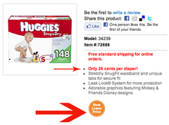 Huggies Trumpets New Lower Price, Doesn't Brag About Box Having Less Diapers