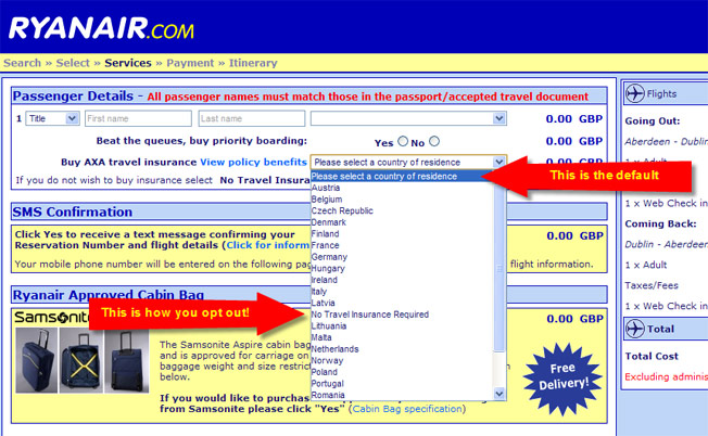 "RyanAir Hides Travel Insurance Opt-Out Under ""Country Of Residence"" Drop-Down"