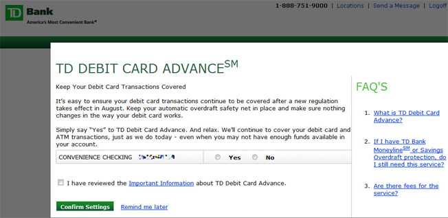TD Ratchets Up Overdraft Opt-In Push With Pop-Up Scare Tactics