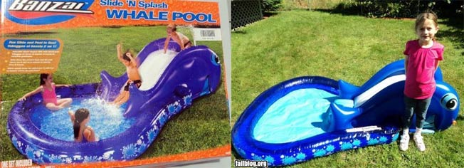 Banzai Slide 'N Splash Whale Pool Box Vs. Reality