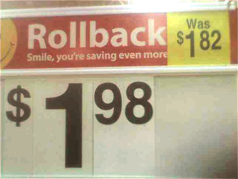 Walmart Rolls Back Prices Negative Sixteen Cents
