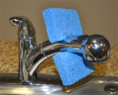 To Keep A Sponge Clean, Snip A Hole In It,  Hang It On The Faucet