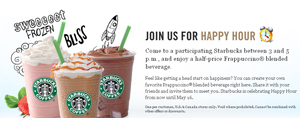 50% Off Starbucks Frappuccinos 3pm-5pm Until May 16