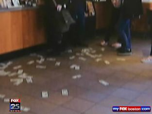 Man Randomly Tosses $100 In Singles At Starbucks Customers