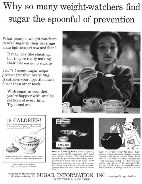 Circa 1960s Ad: Sugar Prevents Overeating