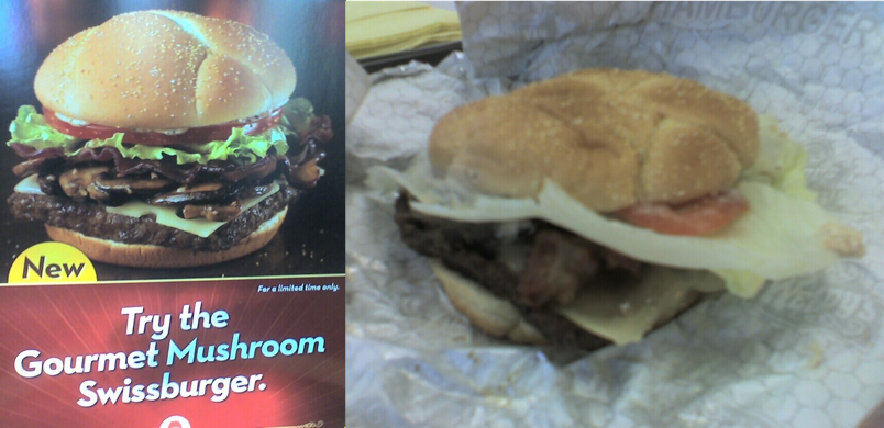 Wendy's Gourmet Mushroom Swissburger Menu Picture V. Reality