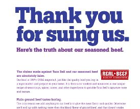"Taco Bell Thanks ""Meat Filling"" Lawsuit Plaintiffs In Full-Page Ad"