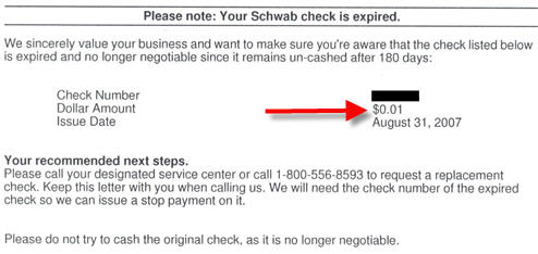 Charles Schwab Sends You A Letter To Let You Know That Your $0.01 Check Expired
