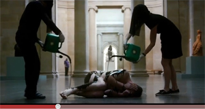 Art Activists Cover Naked Body In Oil In Tate Museum To Protest Censorship And BP Sponsorship