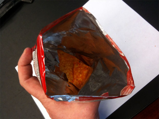 Doritos Bag Contains Only Three Chips