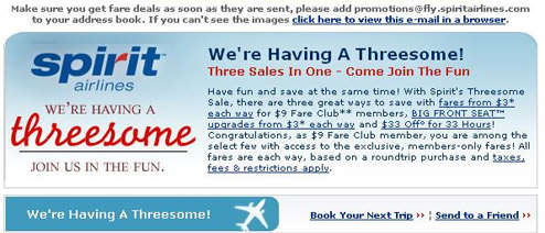 "Spirit Airlines Hold ""Threesome Sale"""