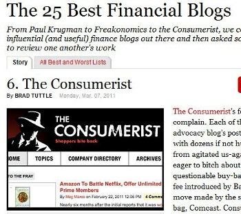 Consumerist Makes Time's List Of Top Financial Blogs