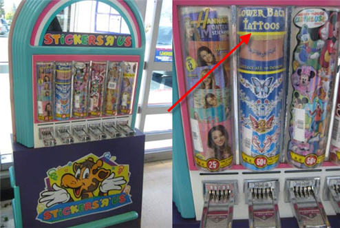 "Toys ""R"" Us Carries Lower Back Tattoo Stickers Perfect For Your Trampy Kid"