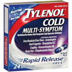 Yet Another Tylenol Recall: 2.5 Million Cold Multi-Symptom Nighttime Rapid Release Gelcaps