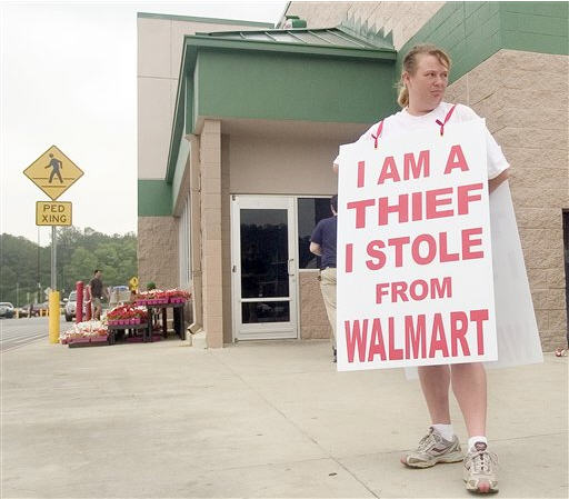 "Walmart Evicts Shoplifters Wearing Signs Reading ""I Am A Thief I Stole From Walmart"""