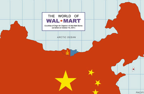 Map of the world based on where walmart gets its products consumerist gumiabroncs Images