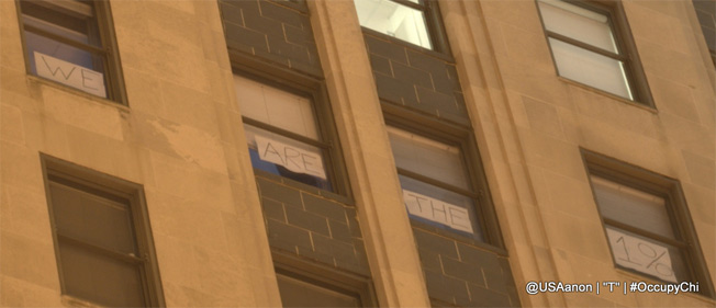 "Signs In Chicago Board Of Trade Windows Say ""We Are The 1%"""