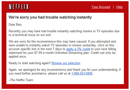 Netflix Emails 3% Discount To Apologize For Streaming Outage