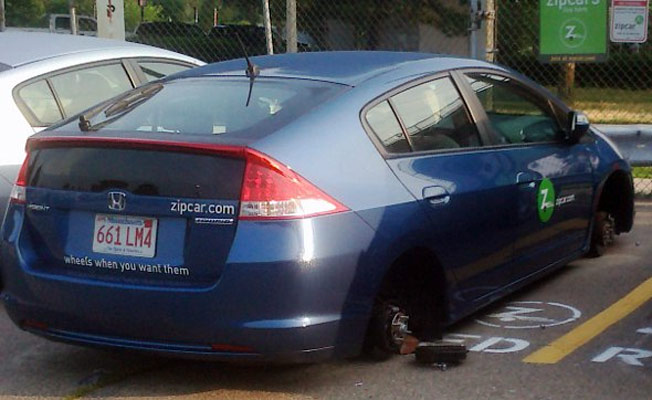 Thieves Decide They Want Zipcars' Wheels Right Now