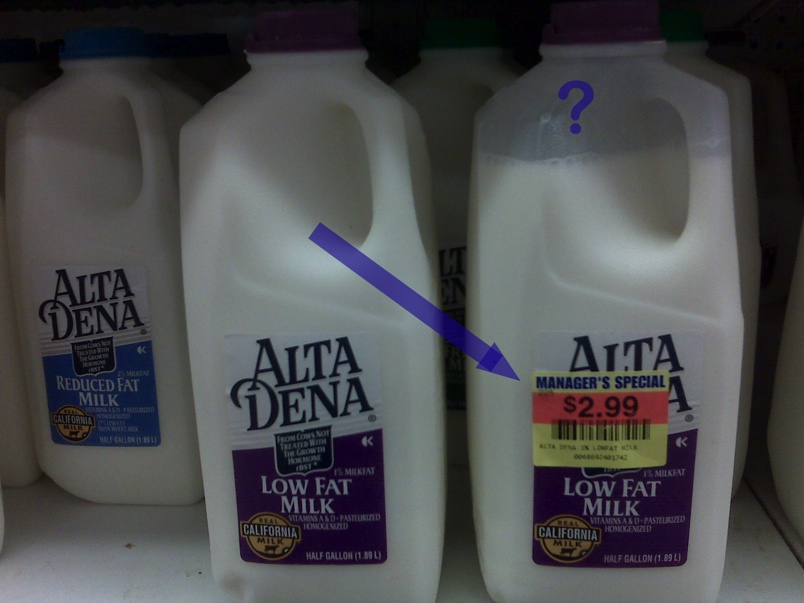 This Partially Filled Half-Gallon Of Milk Is Reasonably Priced