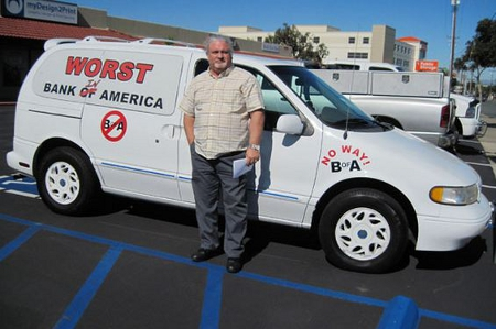 Man Uses Minivan To Show How Much He Hates Bank Of America