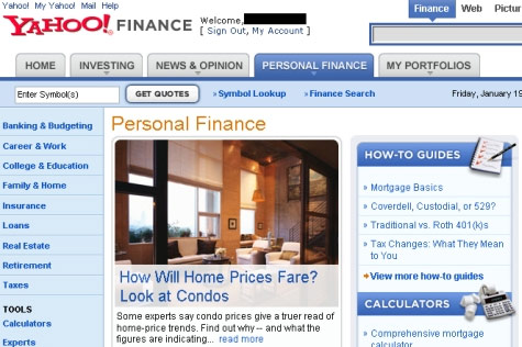 Yahoo's New Personal Finance Site