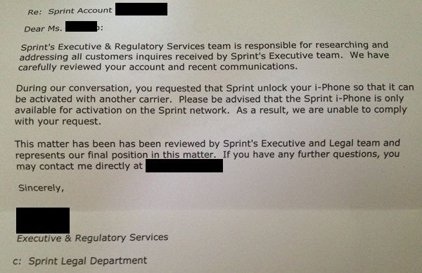 Sprint Isn't Sure Whether They Can Unlock My iPhone Or Not