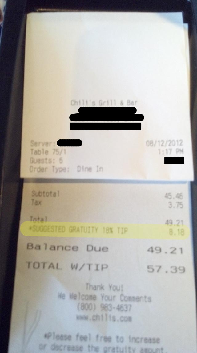 Chili's Helpfully Suggests 18% Tip On My Tab