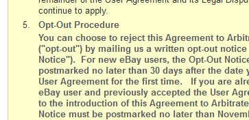 eBay Users Have Until Nov. 9 To Opt Out Of Mandatory Binding Arbitration
