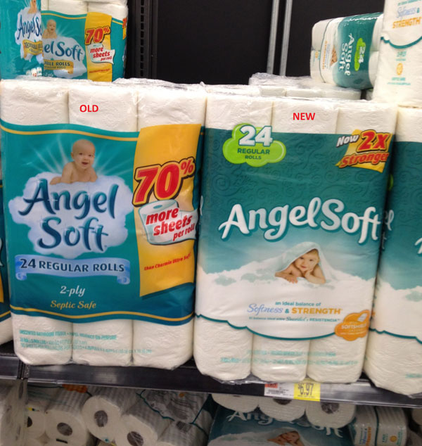 Angel Soft Toilet Paper Changes Packaging, Shrink Rays Content While They're At It