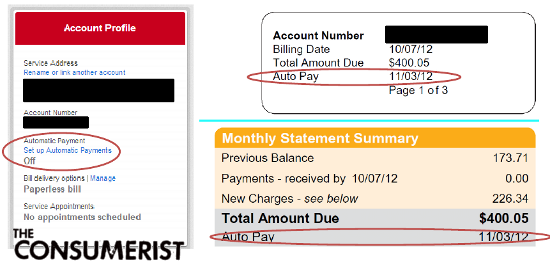 On the left, Comcast's website says Auto Pay is off. On the right, the Comcast bill indicates Auto Pay is on.