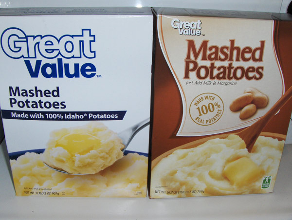 walmart redesigns 5 3 ounces right out of great value mashed potato