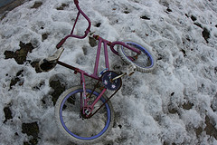 Child's bike in the snow