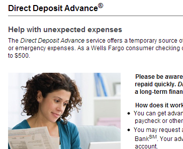 "Wells Fargo's ""not a payday"" loan"
