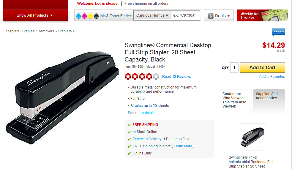 What you pay for this stapler at Staples.com will depend on your ZIP code.