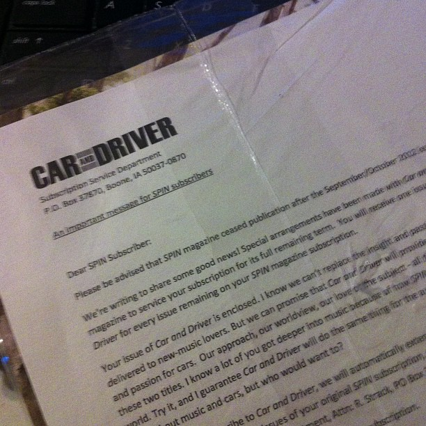 Former Spin Subscribers Will Now Receive Car And Driver, So That's Nice