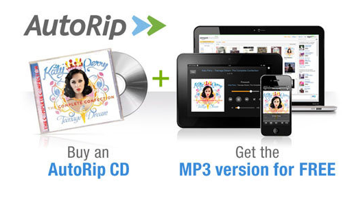 The new AutoRip feature not only provides MP3s of newly purchased CDs, but also provides free MP3s for certain CDs purchased since 1998.