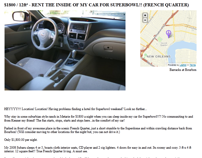 We would not be shocked if someone took this person up on their offer to rent out their Subaru for $1,800/night.