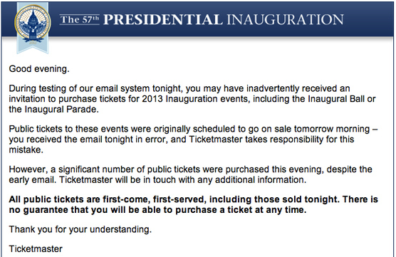 The e-mail sent by Ticketmaster and the Inauguration Committee.