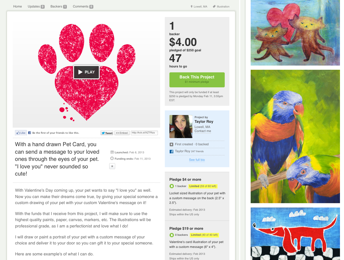 The red paw and the other three illustrations originally posted on this Kickstarter project came from a Google Image search.