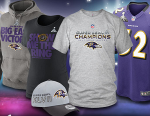 Had the Ravens lost on Sunday, all this gear would have been donated to people in underdeveloped nations, rather than been featured on the NFL website.
